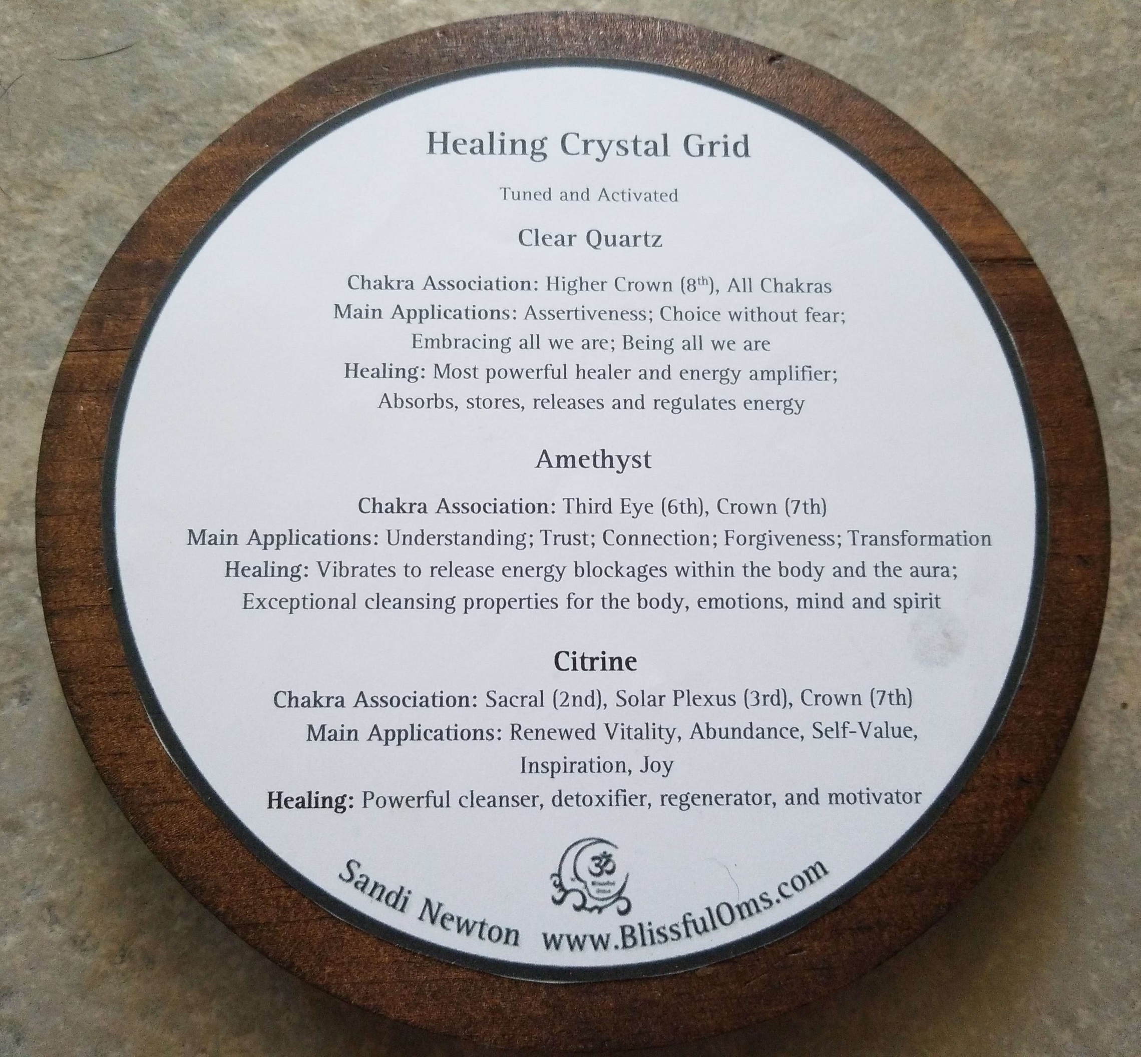 Crystal Grid-Wooden Plaque Info